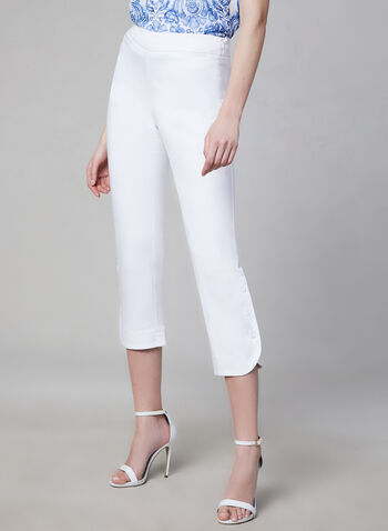 Button Detail Capri Pants, White, hi-res