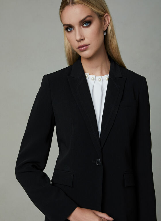 Louben - One Button Blazer, Black, hi-res