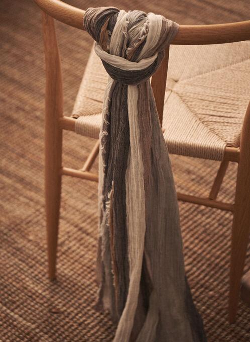 Foulard léger à rayures et franges, Beige