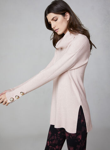 Cowl Neck Sweater, Pink,  knit, sweater, cowl neck, long sleeves, buttons, fall 2019, winter 2019