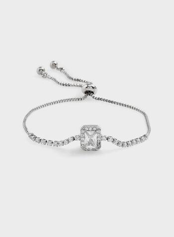 Crystal Slider Chain Bracelet, Silver, hi-res