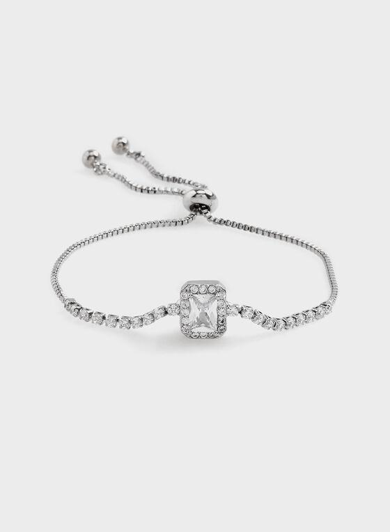 Bracelet avec pierre carrée et cristaux, Argent, hi-res