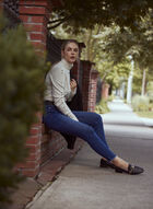 Frayed Hem Slim Leg Jeans, Blue