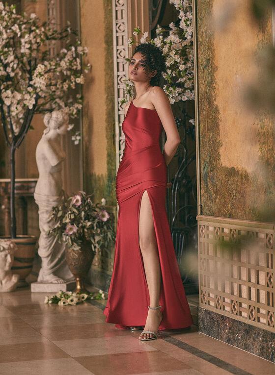 Robe sirène satinée à épaule dénudée, Rouge