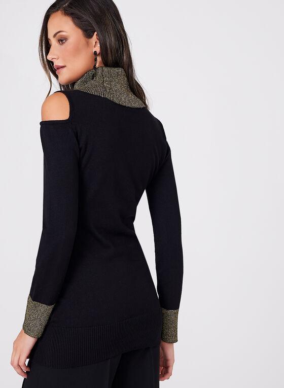 Frank Lyman - Cowl Neck Cold Shoulder Sweater, Black, hi-res