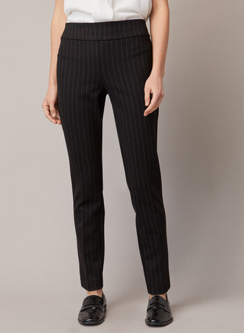 Stripe Print Madison Pants, Black,  fall winter 2020, elastic waist, Madison, pants, slim leg,  ponte di Roma, stripe print, pull-on