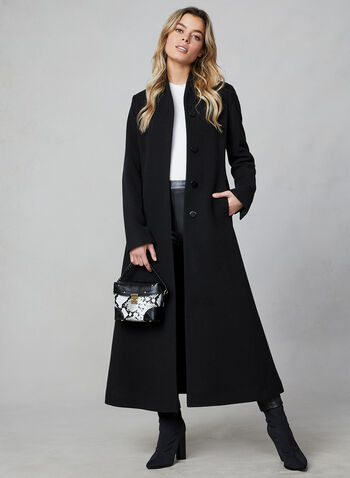Mallia - Wool & Cashmere Coat, Black, hi-res,  wool, cashmere, made in canada, long sleeves, pockets, button closure, Mallia, fall 2019, winter 2019