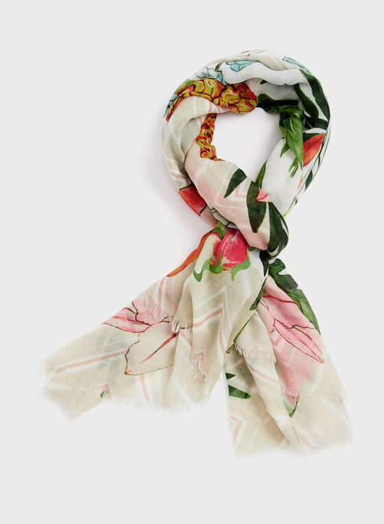 Festive Fruit Print Scarf, Multi, hi-res
