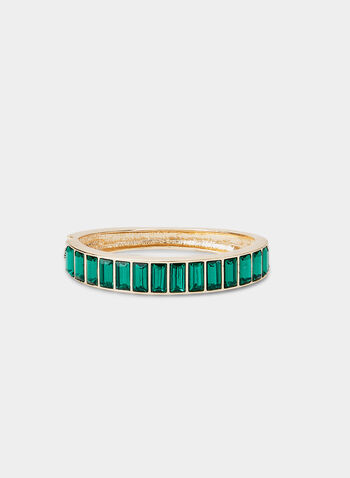 Hinge Bangle Bracelet , Green,  bracelet, large vertical baguette inserts, hinge bangle, fall 2019
