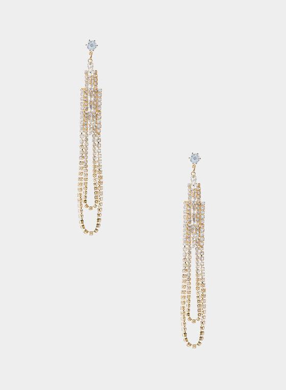 Crystal Chandelier Earrings, Gold