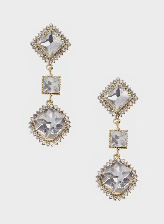 Tiered Geometric Crystal Drop Earrings, Gold, hi-res