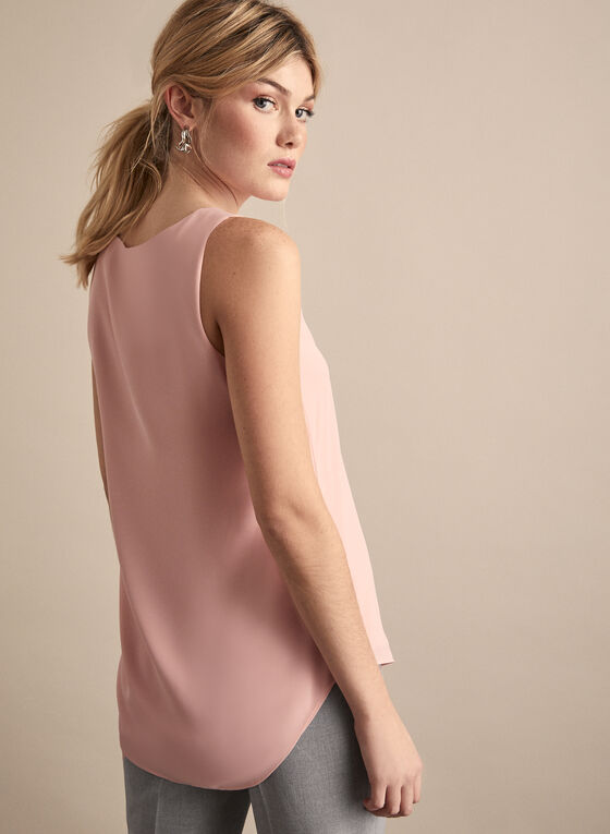 Sleeveless Crepe Blouse, Pink