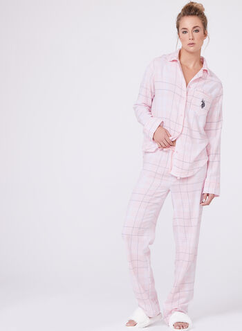 U.S. Polo Assn. - Ensemble pyjama à carreaux en flanelle, Rose, hi-res