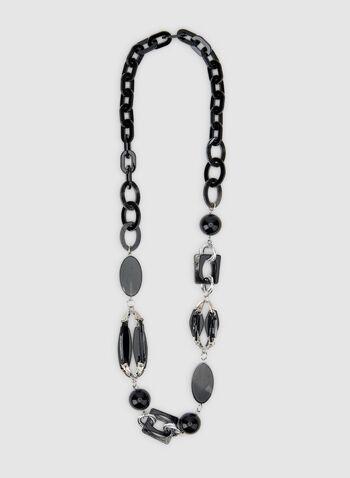 Geometric Pendant Necklace, Black, hi-res,  lucite necklace