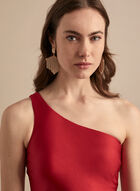 Satin One-Shoulder Mermaid Gown, Red