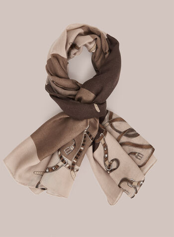 Belt Print Scarf, Brown,  scarf, belt print, fall winter 2020