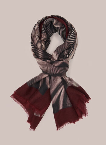 Geometric Print Scarf, Red,  Fall winter 2020, hem fringe, fringe, contrast, abstract, print