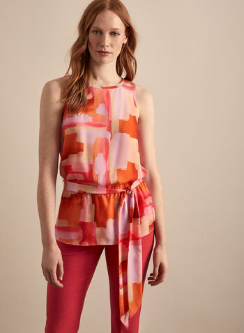 Belted Sleeveless Top, Orange,  spring summer 2020, sleeveless, abstract print