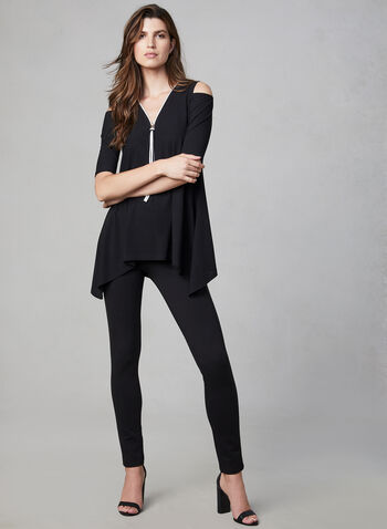 Cold Shoulder Crepe Top, Black, hi-res