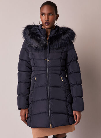 Laundry - Faux Fur Quilted Coat, Grey,  fall winter 2020, coat, down, vegan, quilted, hood, faux fur, laundry, pockets, holiday