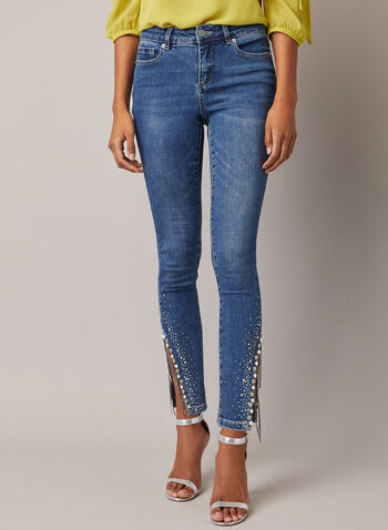Embellished Hem Slim Leg Jeans, Blue,  jeans, slim, denim, ankle, pearls, beads, lace, embellished, pockets, fall winter 2020