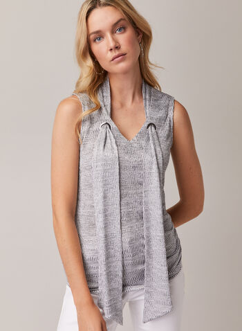 Sleeveless Jacquard Top, Grey,  top, sleeveless, v-neck, grommet, jacquard, spring summer 2020