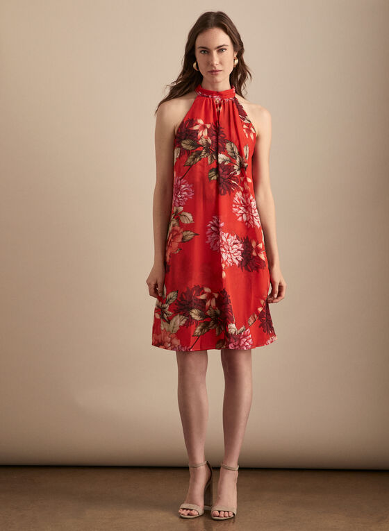 Floral Print Mock Neck Dress, Red