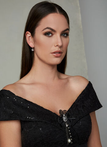 BA Nites - Off The Shoulder Mesh Dress, Black, hi-res