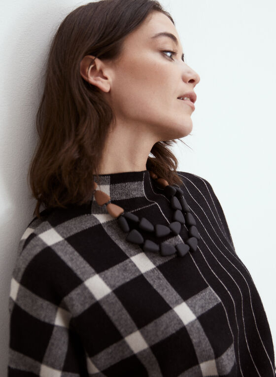 Stripe & Plaid Print Sweater, Black