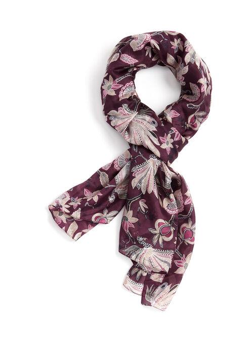 Foulard oblong léger à fleurs et motif paon, Rouge, hi-res