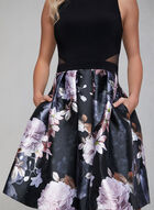 BA Nites - Floral Print Fit & Flare Dress, Black, hi-res