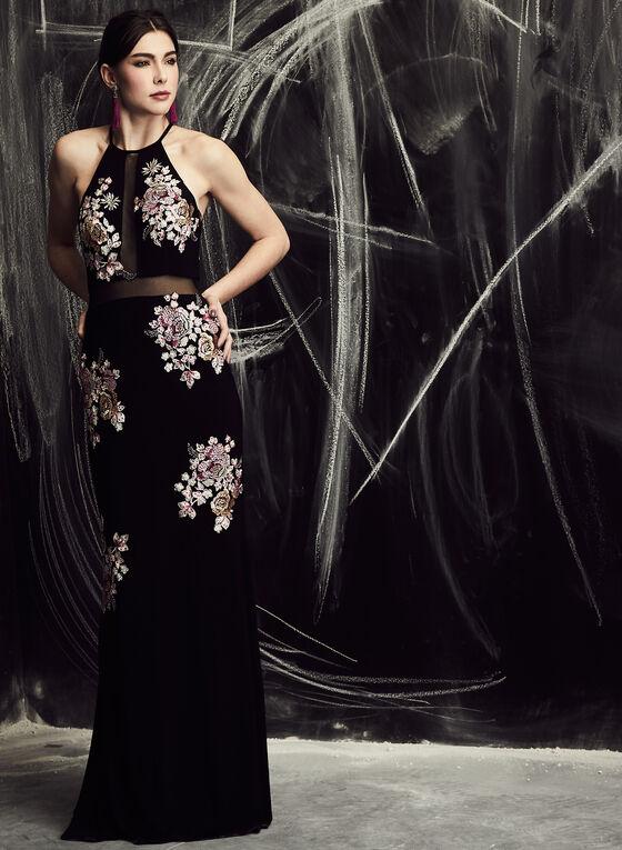 BA Nites - Floral Embroidered Mesh Dress, Black, hi-res