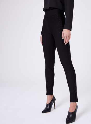 Frank Lyman - Pantalon pull-on point de Rome à brillants, Noir, hi-res