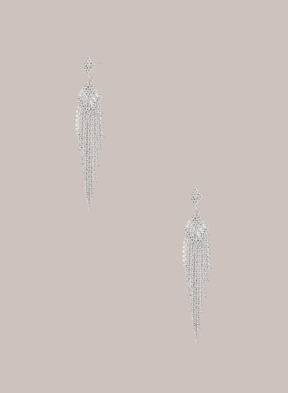 Boucles d'oreilles chandelier argentées, Argent