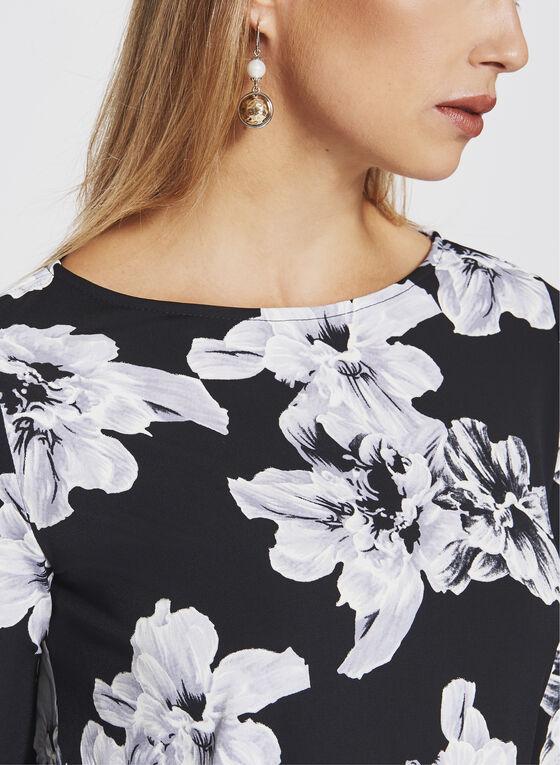 Floral Print Bell Sleeve top , Black, hi-res