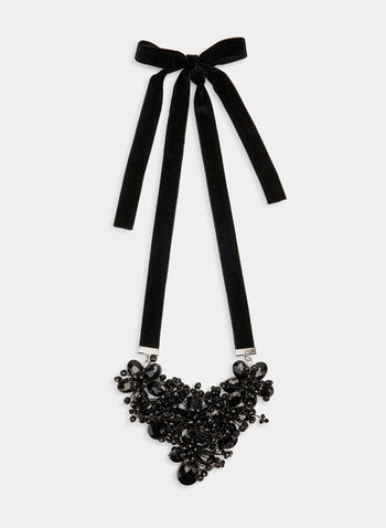 Velvet Faceted Bead Necklace, Black, hi-res
