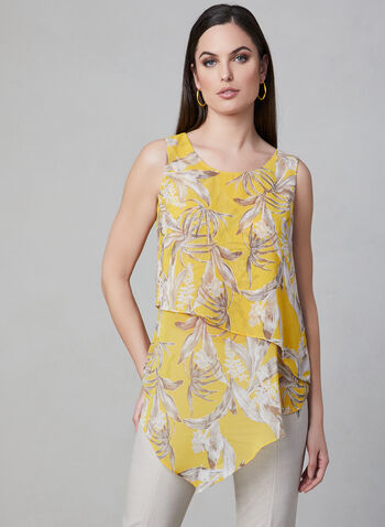 Floral Print Layered Top, Yellow, hi-res,  sleeveless, chiffon, asymmetric, spring 2019