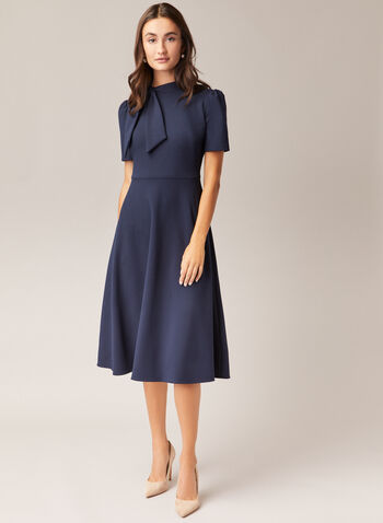 Maggy London - Short Sleeve Tie Neck Dress, Blue,  day dress, tie neck, short sleeves, crepe, fit & flare, fall winter 2020