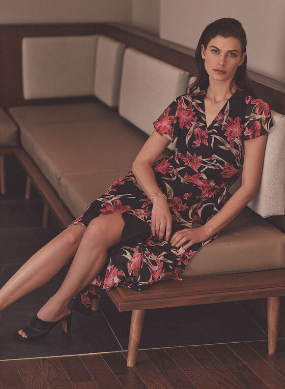 Joseph Ribkoff - Floral Print Wrap Style Dress, Black