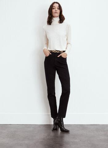 Yoga Jeans - High Rise Slim Leg Denim, Black,  fall 2021, made in canada, yoga jeans, jeans, denim, pants, slim leg, high rise, Emily, model, zipper, button, closure, belt loops, 5 pockets