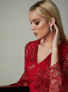 LM Collection - Mesh Bell Sleeve Dress, Red, hi-res