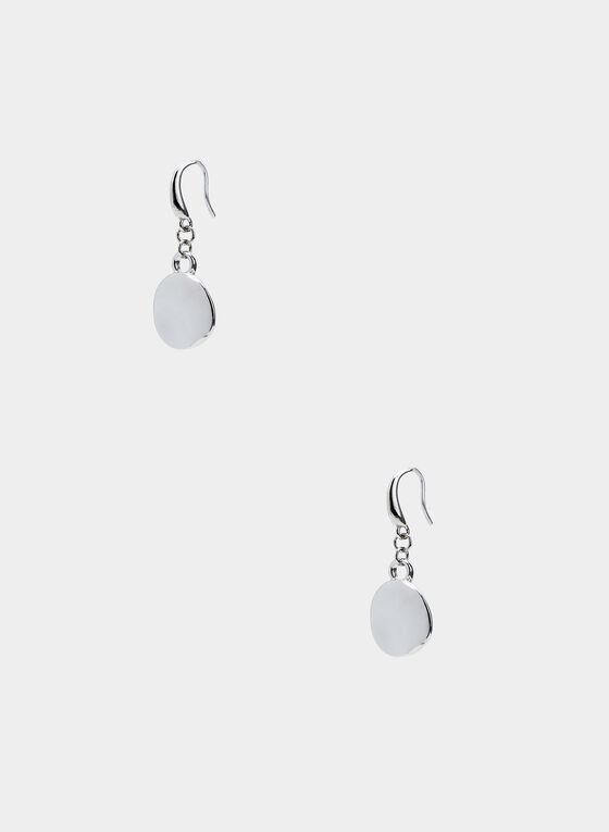 Boucles d'oreilles en métal martelé , Argent, hi-res