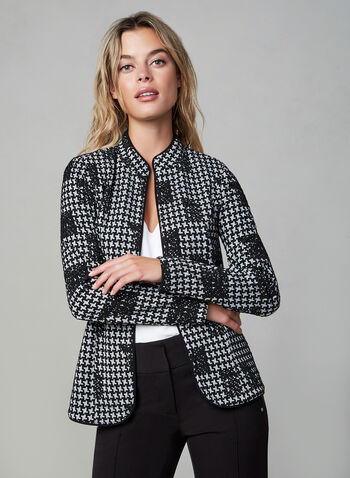 Jacquard Jacket , Black,  long sleeves, open front, textured, fall 2019, winter 2019