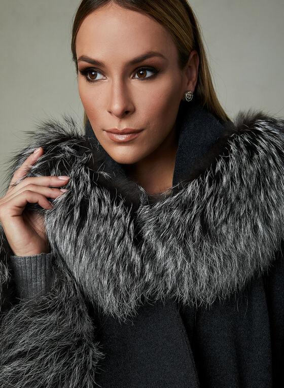 Mallia – Genuine Fur Trim Wool Cape, Grey, hi-res