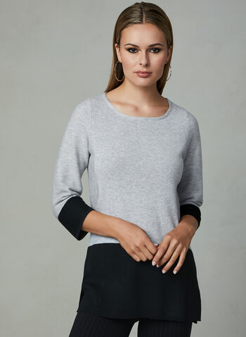 Elena Wang - Colour Block Knit Top, Silver, hi-res