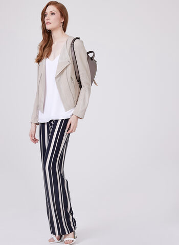 Vex – Herringbone Trim Cropped Jacket, Off White, hi-res