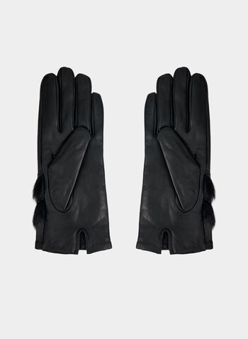 Genuine Leather Glove With Faux Fur, Black,  genuine leather, faux fur, gloves, leather gloves, winter 2019, fall 2019