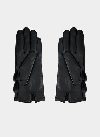 Gants en cuir avec fausse fourrure, Noir,  automne hiver 2019, gants, moufles, mitaines, cuir, fausse fourrure, accessoire, accessoire d'hiver