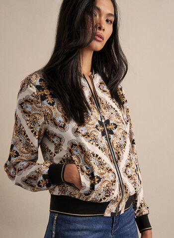 Baroque Print Bomber Jacket, Black,  bomber, jacket, baroque print, floral print, zipper, spring 2020, summer 2020