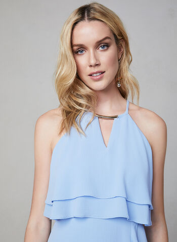 Kensie - Halter Neck Asymmetric Dress, Blue, hi-res,  Spring 2019, cocktail dress, crepe, halter neck, sleeveless